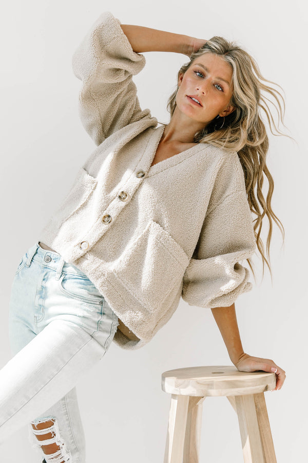 Taupe Teddy Jacket - Luca + Grae