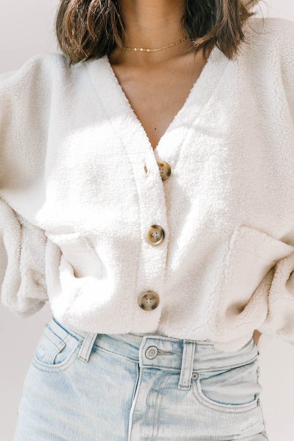 Cream Teddy Jacket - Luca + Grae