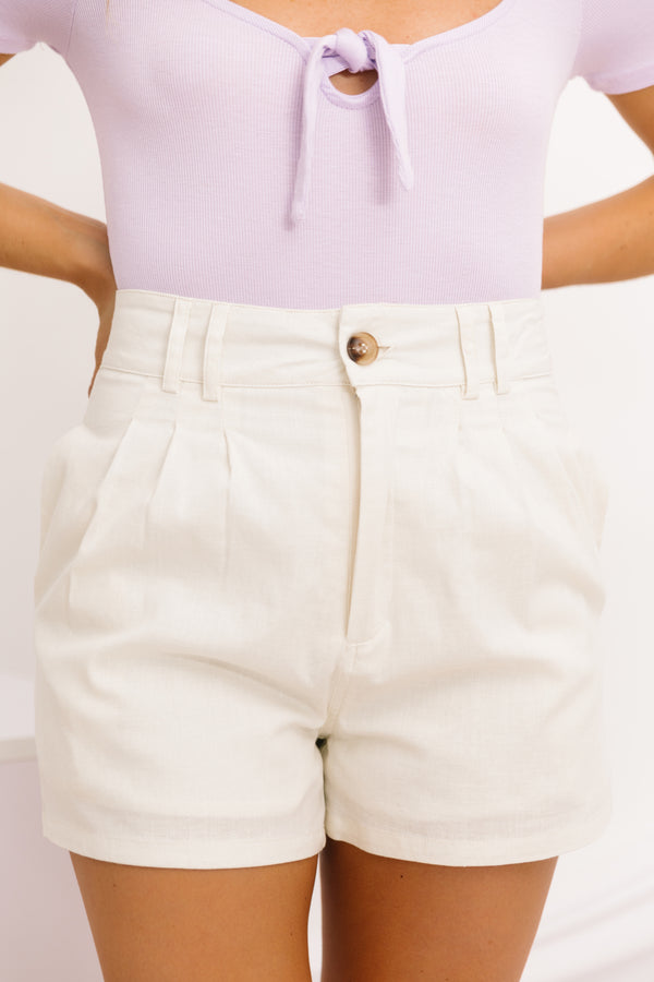 Past Decades Cream Shorts - Luca + Grae