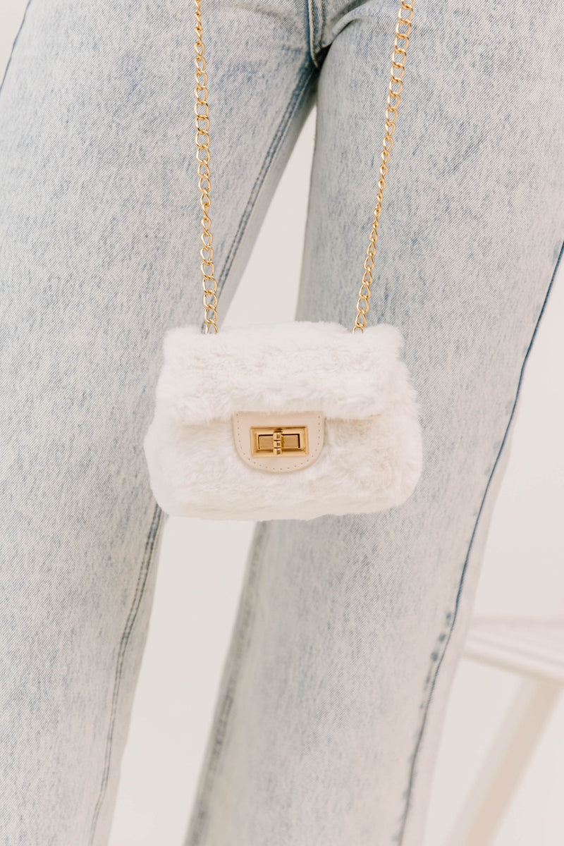 * Inside Job Ivory Fur Handbag - Luca + Grae