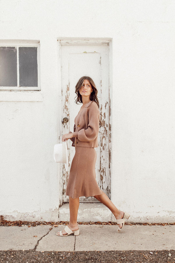 Wake Me Mocha Dress + Cardigan Set - Luca + Grae