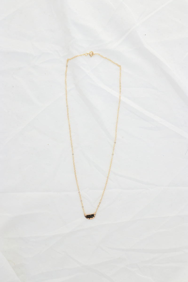 Mini Half Moon Disc Necklace