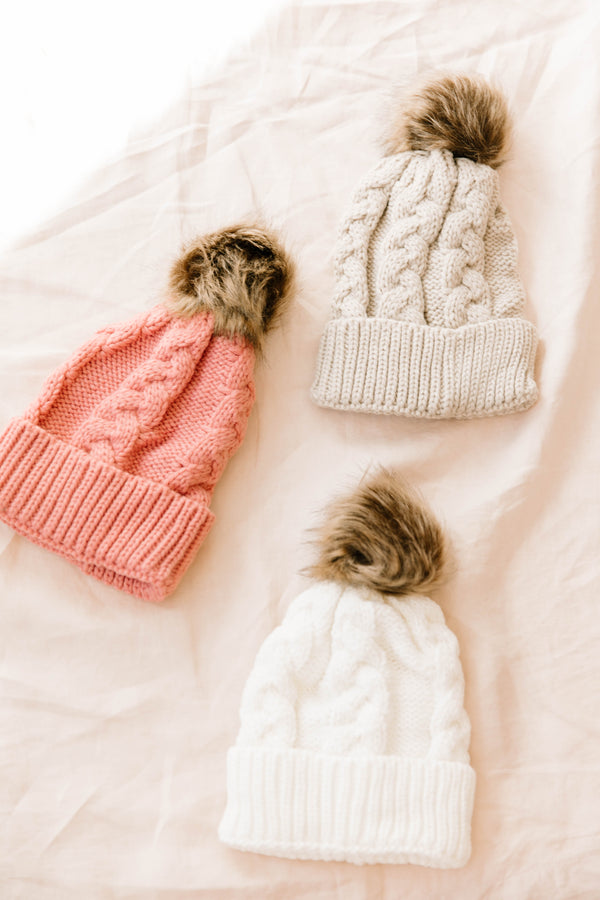 Snow Day Taupe Beanie - Luca + Grae