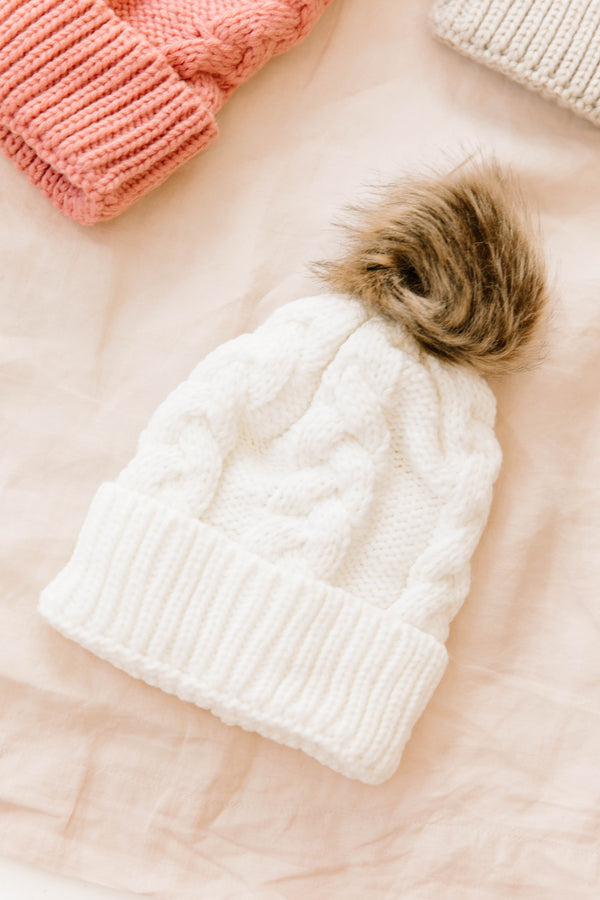 Snow Day Ivory Beanie - Luca + Grae