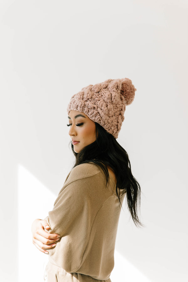 Beat The Chill Mauve Beanie - Luca + Grae