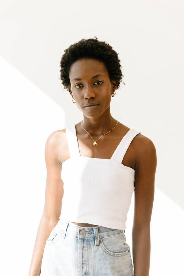 Upper East Side White Crop Tank - Luca + Grae