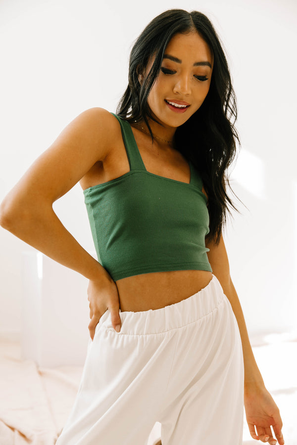 Upper East Side Emerald Crop Tank - Luca + Grae