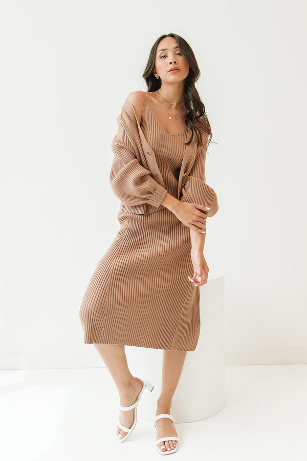 Wake Me Mocha Dress & Cardigan Set