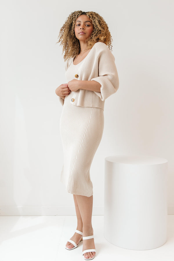 Wake Me Oatmeal Dress & Cardigan Set