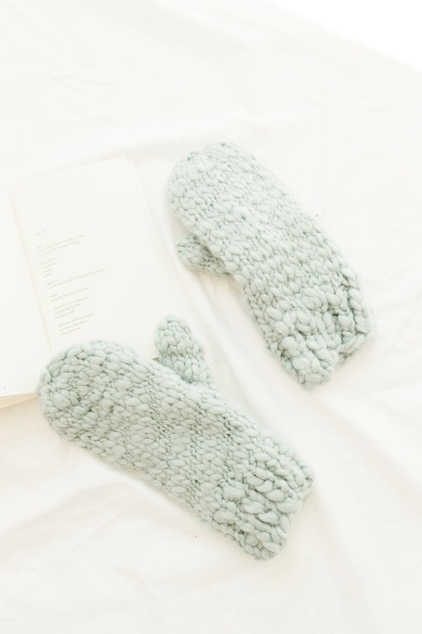 Star & Moon Dusty Blue Mittens - Luca + Grae