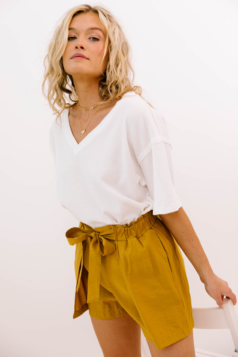 Bounce Back Mustard Shorts - Luca + Grae