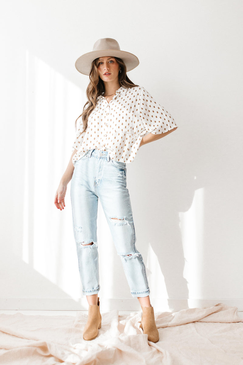 Hazy Afternoon White Woven Blouse - Luca + Grae