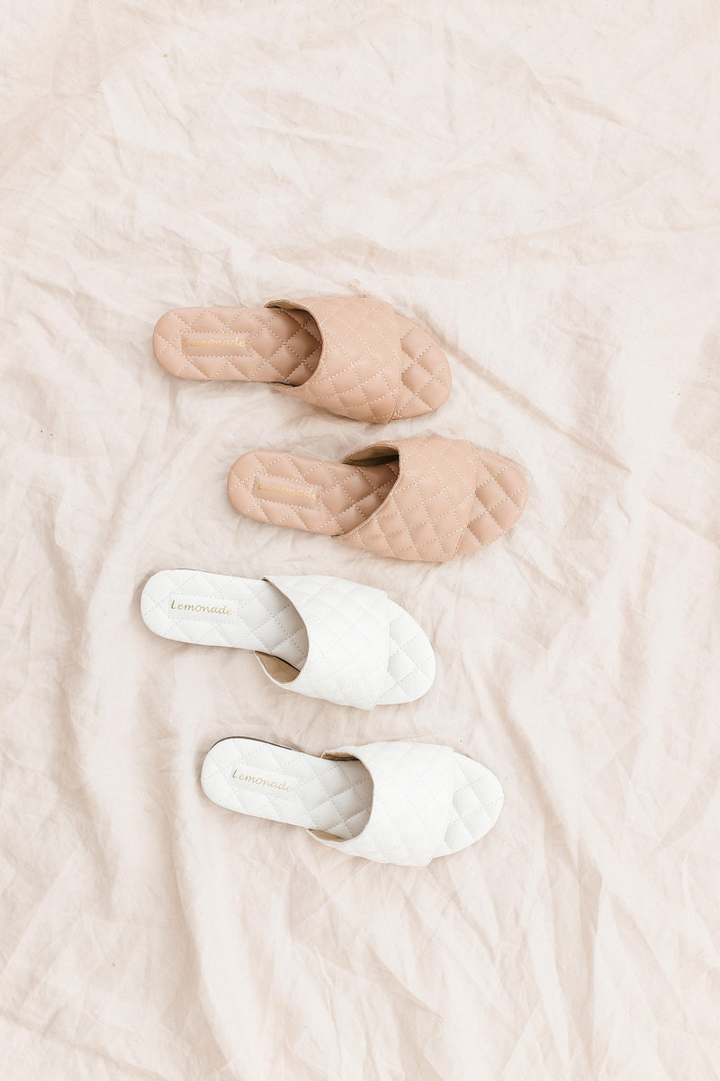 Glamour White Quilted Slides - Luca + Grae