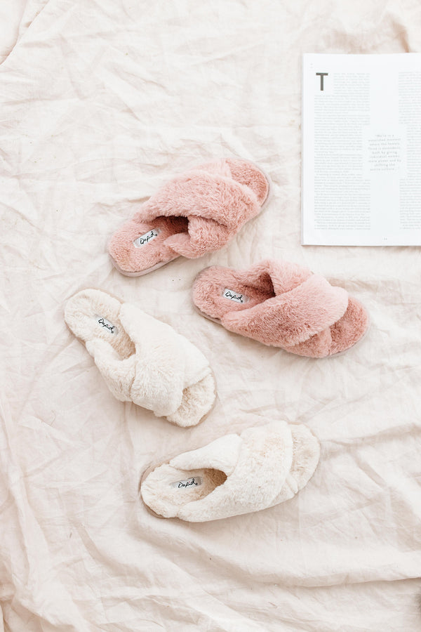 Lottie Rose Fuzzy Slippers - Luca + Grae
