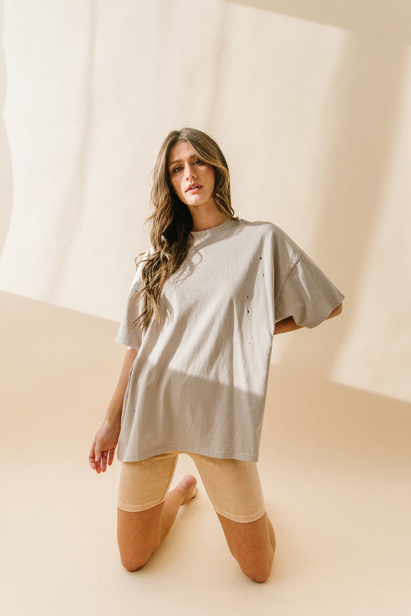 After Hours Grey Oversized Distressed Tee - Luca + Grae