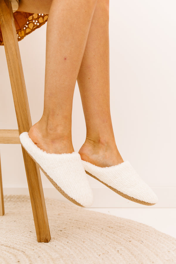 Think Alike Ivory Slippers - Luca + Grae