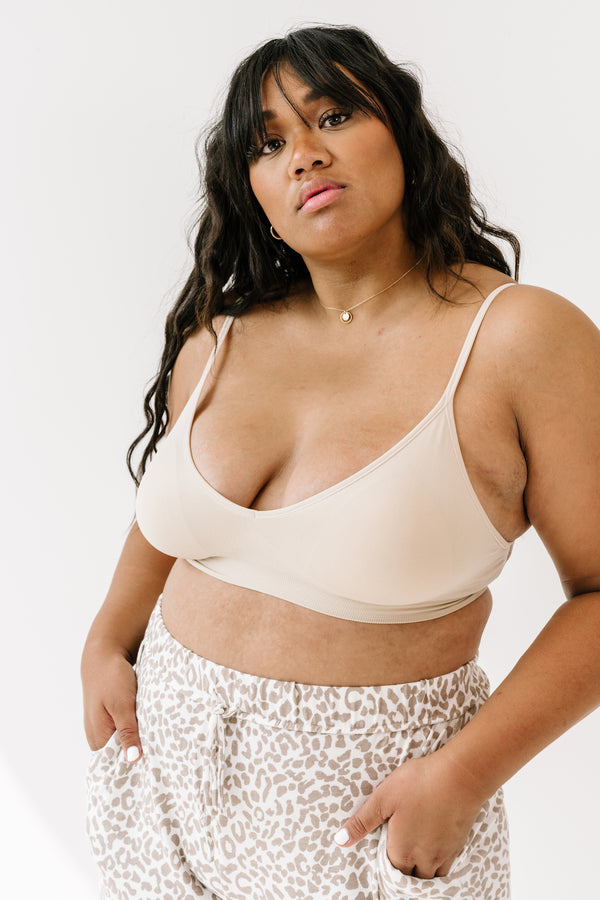 Curvy Run Away Beige Bralette