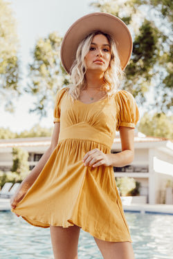Tatum Mustard Dress - Luca + Grae