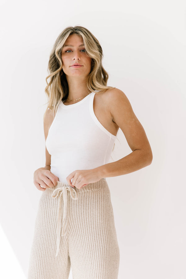 Honeybee White Ribbed Tank - Luca + Grae