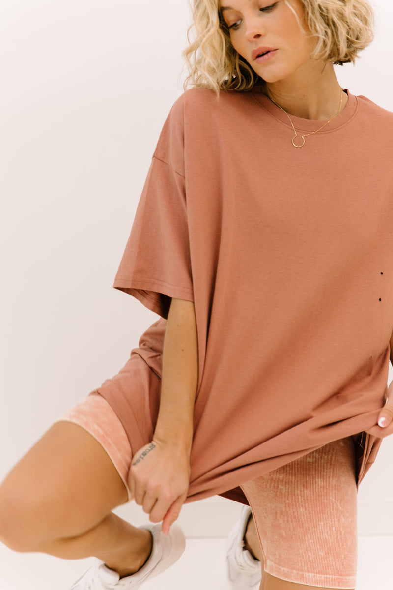 After Hours Mauve Oversized Distressed Tee - Luca + Grae