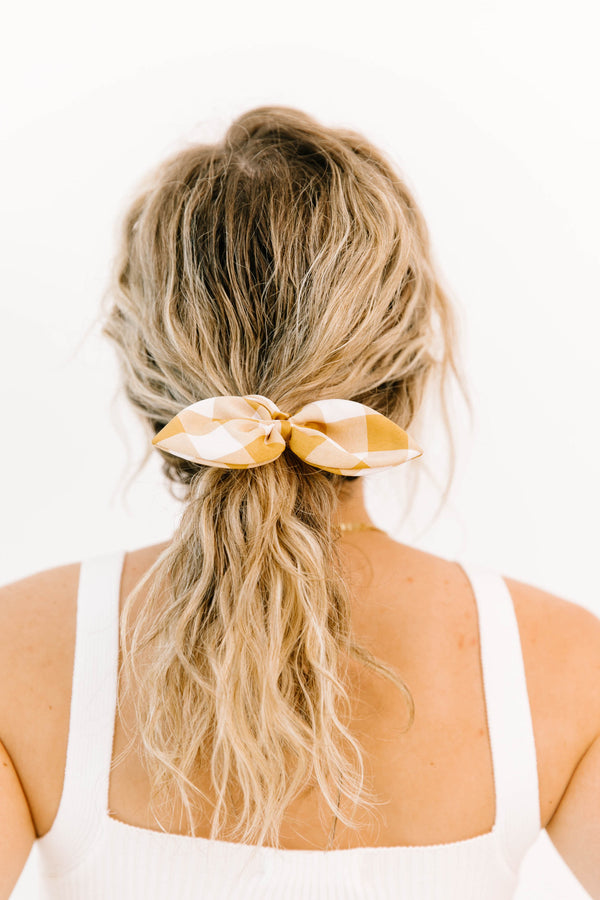 Golden Gingham Scrunchie - Luca + Grae