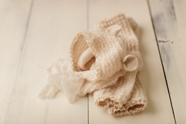 Cream Lace Leggies + Bonnet Set(nb/6-18m)