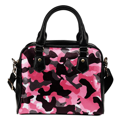 Pink Camouflage Shoulder Handbag