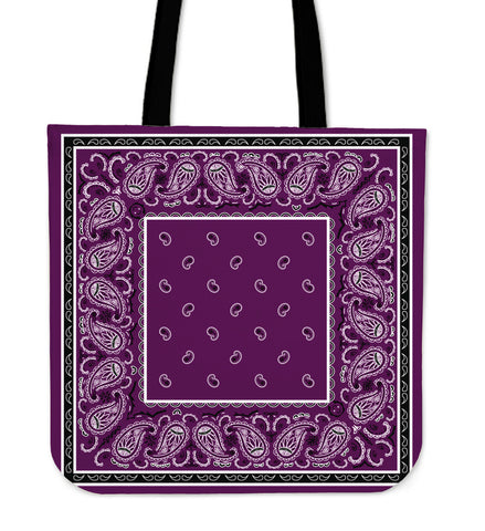 Wild Plum with Black Border Bandana Tote Bag