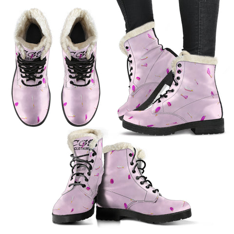 Pink Petal Leather Boots