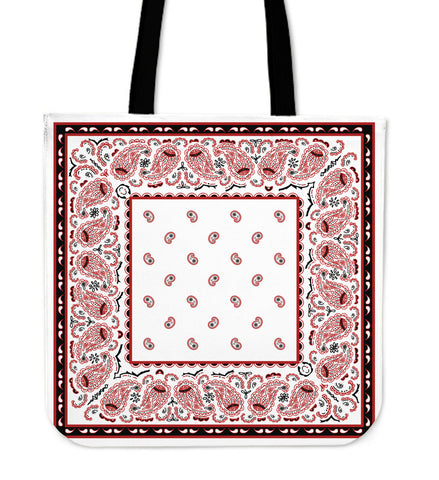 Wicked White with Black Border Bandana Tote Bag