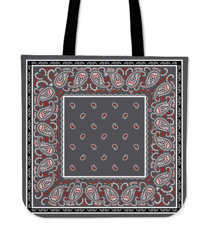Wicked Gray with Black Bandana Tote Bag