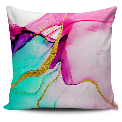 Pink & Blue Marble Cushion Cover