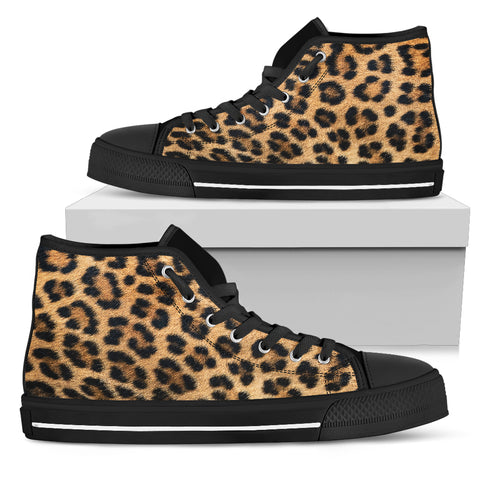 Leopard Fur Print Womens High Top Shoes