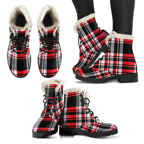 Red Plaid Faux Fur Boots