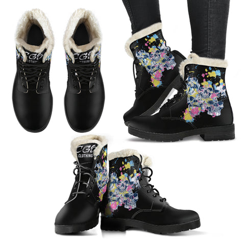 Skull Eruption Leather Boots