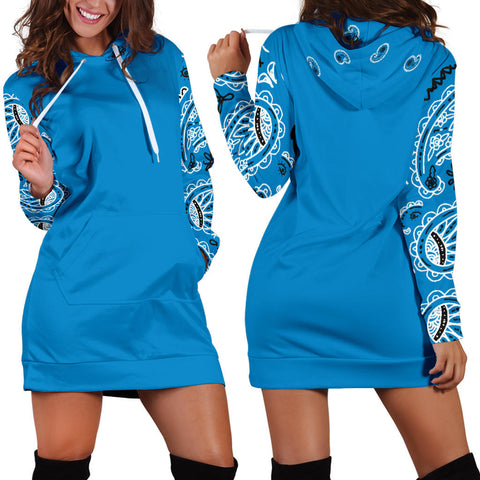 Edge Sky Blue Bandana Hoodie Dress