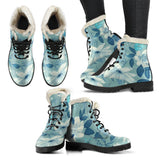 Vintage Blue Faux Fur Lined Vegan Leather Boots
