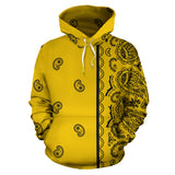 Gold and Black Bandana Asymmetrical Pullover Hoodie