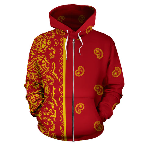 Red and Gold Bandana Asymmetrical Zip Hoodie