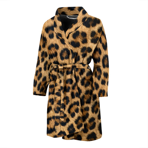 Leopard Fur Print Mens Bathrobe