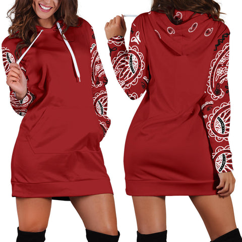 Classic Red Bandana Hoodie Dress