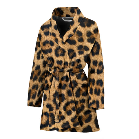 Leopard Fur Print Womens Bathrobe