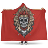Tribal Chief Skull (Red) - Hooded Blankets