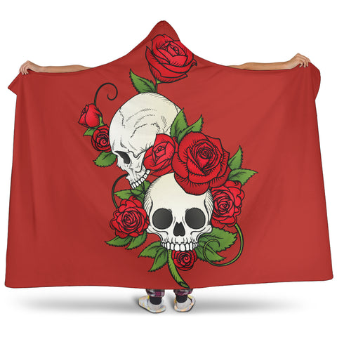 Skull Couple Roses (Red) - Hooded Blankets