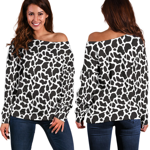 Cow Animal Print Off Shoulder Sweater