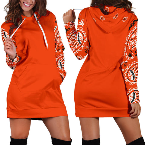 Perfect Orange Bandana Hoodie Dress