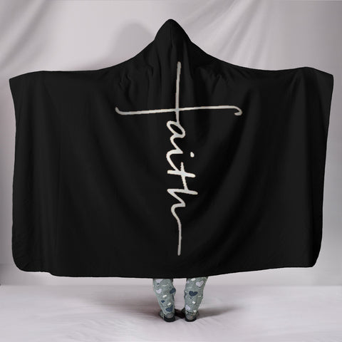 Faith Black Hooded Blanket