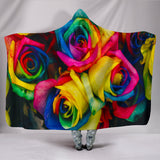 Rainbow Roses Hooded Blanket