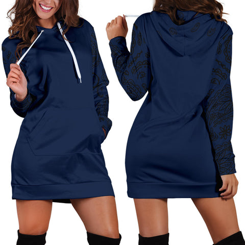 Navy and Black Bandana Hoodie Dress