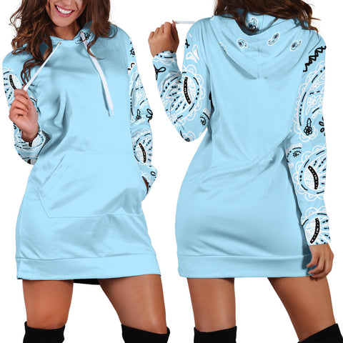 Light Blue Bandana Hoodie Dress